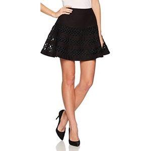 Paris Designer Sweed Embroidered Flared Skirt